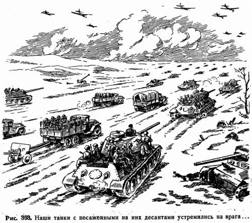 Рис. 393. Наши танки с посаженными на них десантами устремились на врага...