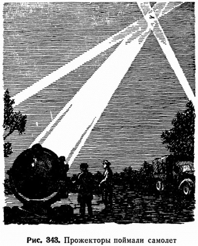 Рис. 343. Прожекторы поймали самолет