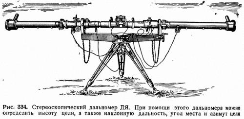 Рис. 334. Стереоскопический дальномер ДЯ. При помощи этого дальномера можно определить высоту цели, а также наклонную дальность, угол места и азимут цели