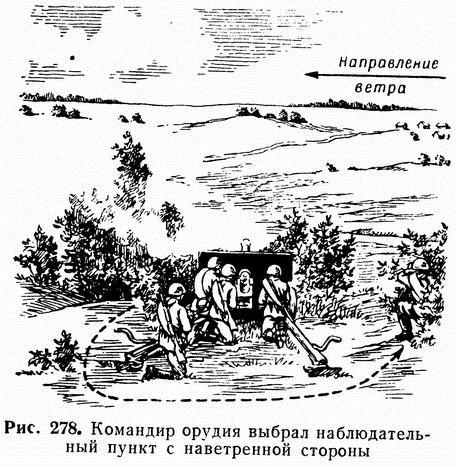 Рис. 278. Командир орудия выбрал наблюдательный пункт с наветренной стороны