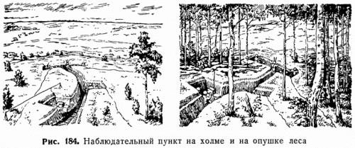 Рис. 184. Наблюдательный пункт на холме и на опушке леса