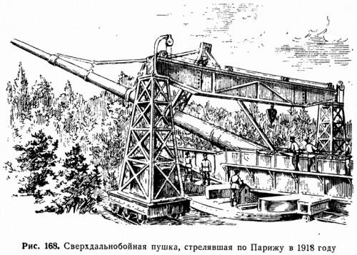 Рис. 168. Сверхдальнобойная пушка, стрелявшая по Парижу в 1918 году