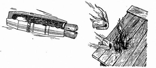 Рис. 121. Как устроен зажигательный снаряд и как он действует