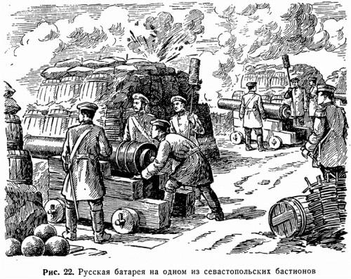 Рис. 22. Русская батарея на одном из севастопольских бастионов