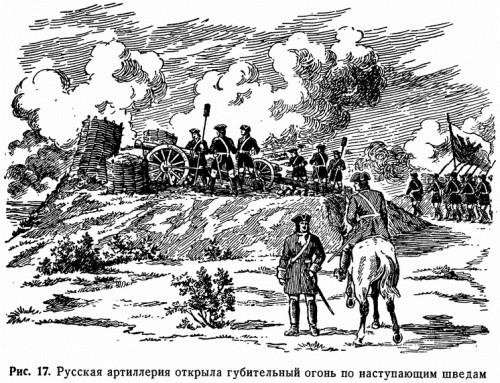 Рис. 17. Русская артиллерия открыла губительный огонь по наступающим шведам