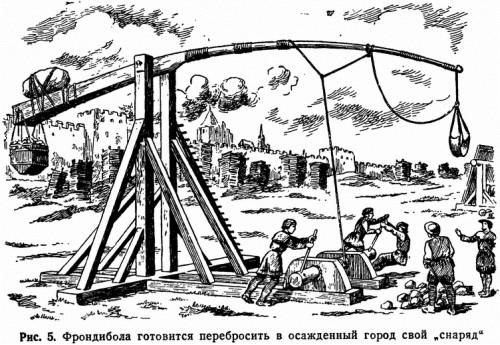 """Рис. 5. Фрондибола готовится перебросить в осажденный город свой """"снаряд"""""""