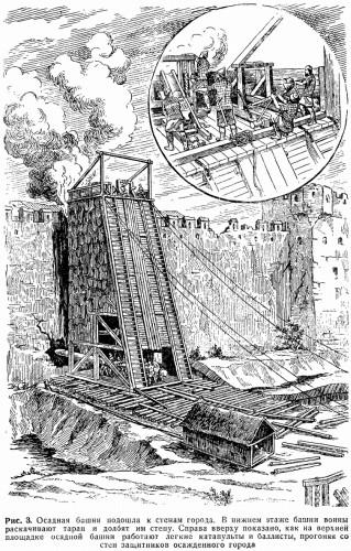 Рис. 3. Осадная башня подошла к стенам города. В нижнем этаже башни воины раскачивают таран и долбят им стену. Справа вверху показано, как на верхней площадке осадной башни работают легкие катапульты и баллисты, прогоняя со стен защитников осажденного города